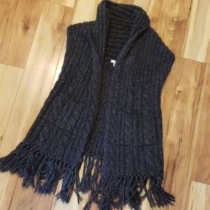 CAbi Long Grey Vest, chunky cozy sweater